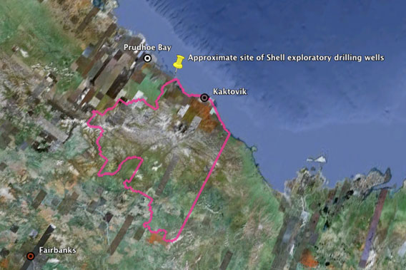 Approximate site of preliminarily approved drilling by Shell. Pink outline is the Arctic National Wildlife Refuge (ANWR). Image made with Google Earth.