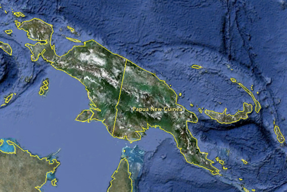Papua New Guinea, as viewed from Google Earth, covers the eastern half of the island of New Guinea, as well as other Pacific Islands.