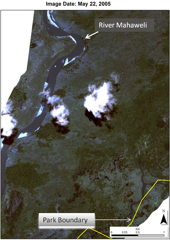 Satellite image taken on May 22, 2010 before illegal clearances in  No clearance east of the river in Somawathiya National Park.  Photo courtesy of Environmental Foundation Limited.