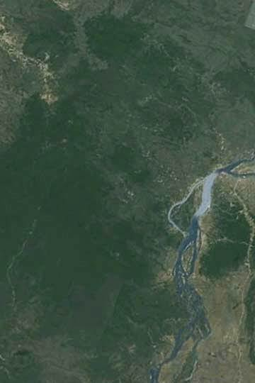 A part of Prey Lang forest as viewed from Google Earth. The Mekong River is to the east (right side of the image).
