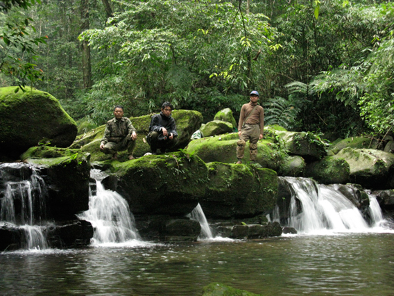 Survey team poses in prime saola habitat in the in Nakai-Nam Theun National Protected Area in the Annamite Mountains. Photo courtesy of William Robichaud.