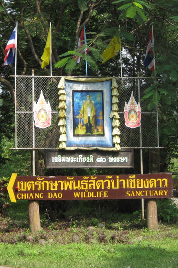 Entrance sign for Chiang Dao Wildlife Sanctuary. Photo by: Katharine Sims.