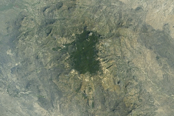Forest loss along the edge of Mount Dongotomea in South Sudan is visible from Google Earth.