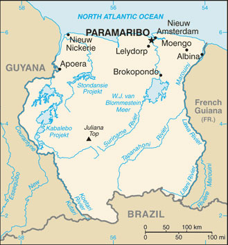 Map of Suriname. Photo courtesy of the CIA.