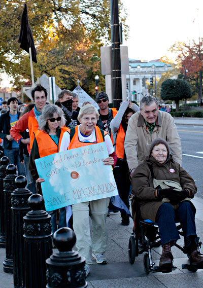 Protestors with church group. Photo by: Emma Cassidy.