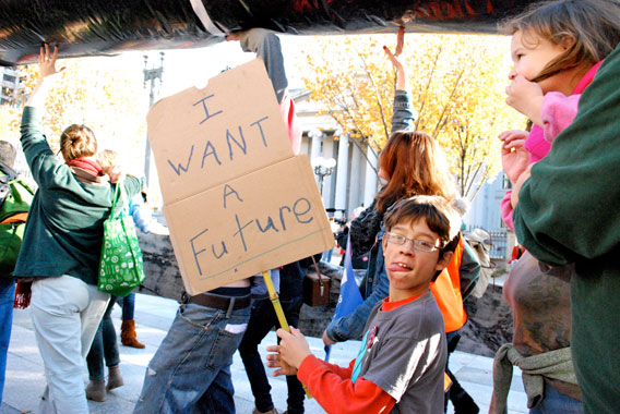 Protestors included kids. Photo by: Amy Dewan.