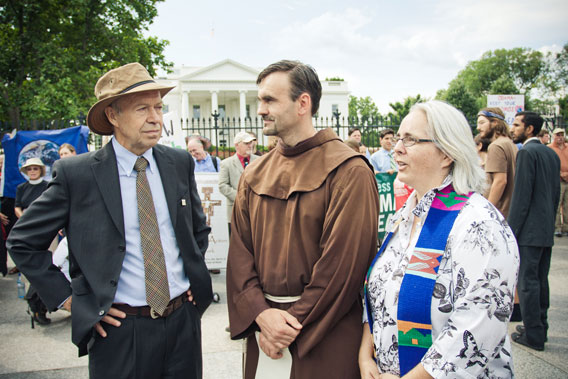 James Hansen (on the left) with religious leaders at Keystone XL civil disobedience.