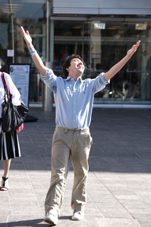 A young man, arrested on August 20th at the start of the Tar Sands Action, exits the courthouse after having spent 2 nights in jail.