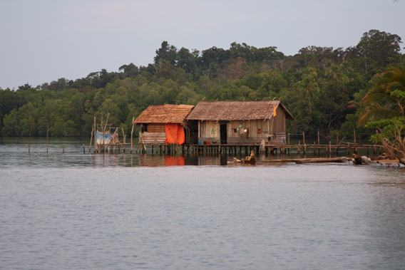 Traditional Papuan house on piles: southern coast of Misool island, Raja Ampat. Photo: Dmitry Telnov, 2009.