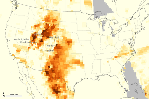 The map depicts the relative concentration of aerosols from wildlife smoke in the skies above the continental U.S. on June 26, 2012. Image by: NASA.