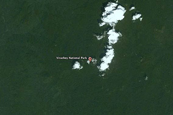 A portion of Virachey National Park as viewed by Google Earth in Cambodia. Last year Cambodian Prime Minister, Hun Sen, approved a 9,000 hectare (22,200 acre) rubber plantation inside the park as apart of the government's economic land concessions.