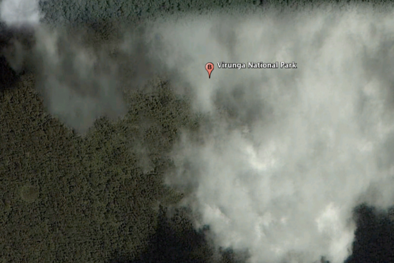 A portion of Virunga National Park swaddled in clouds as seen by Google Earth.