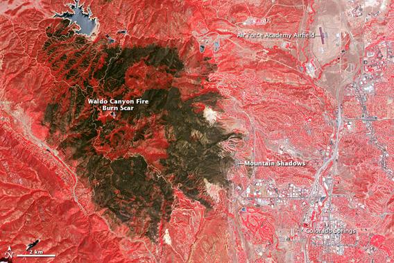 Fire scar from Waldo Canyon Fire in Colorado. Photo by: NASA.