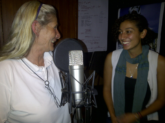 Annie Olivecrona (left) tells of saving six orphaned chimpanzee from the South Sudan at the height of the civil war. Olivecrona is interviewed by 18-year-old Elleni for the story 'Saving Chimpanzees from Sudan.' In all, Olivecrona has raised 28 'hairy babies,' all chimpanzee orphans rescued from war torn countries. Photo courtesy of Paula Kahumbu.