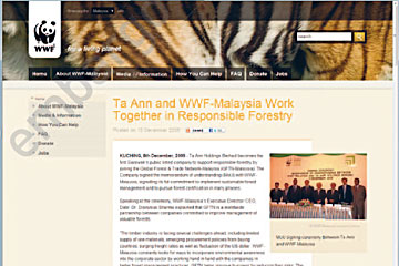 Screenshot from WWF website announcing partnership with Ta Ann Holdings Berhad.