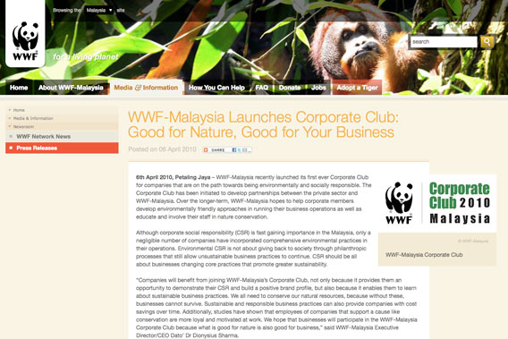 A new report finds that conservation giant WWF may demand too little when working with logging companies. Screenshot of WWF website.