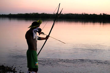 Traditional fishing on the Xingu River. Photo courtesy of Amazon Watch.