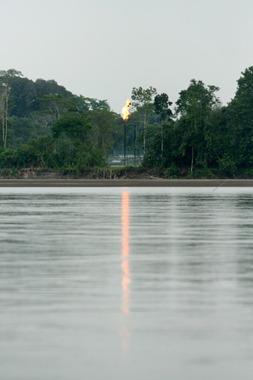 Gas flare at an oil refinery in the Ecuadorian Amazon.  Photo by Jeremy Hance.