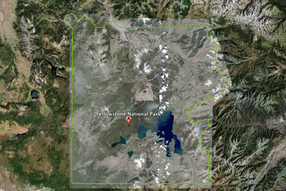 Outline of Yellowstone National Park, the world's first modern protected are, as seen by Google Earth. Yellowstone was opposed by many when it was first created including logging and mining industries.