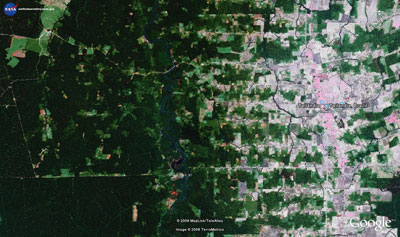 Forest clearing and development near Tailândia, Brazil